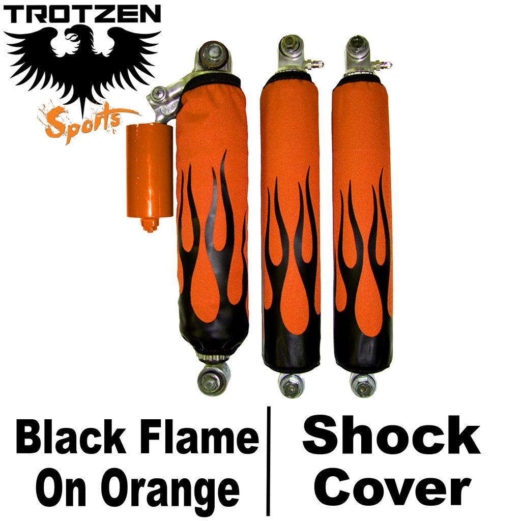 Suzuki LTR 450 450R Black Flame On Orange Shock Covers