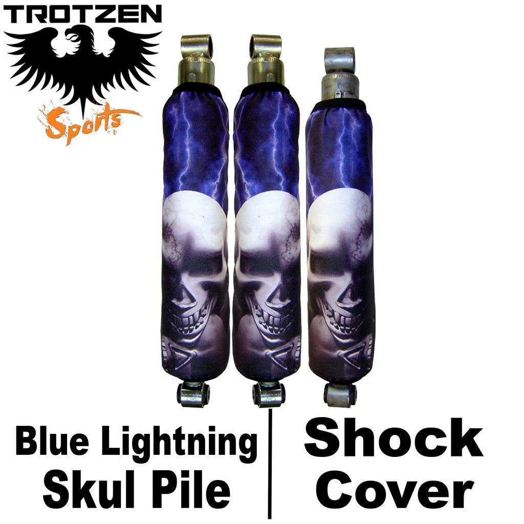 Yamaha Blaster Blue Lightning Skull Pile Shock Covers