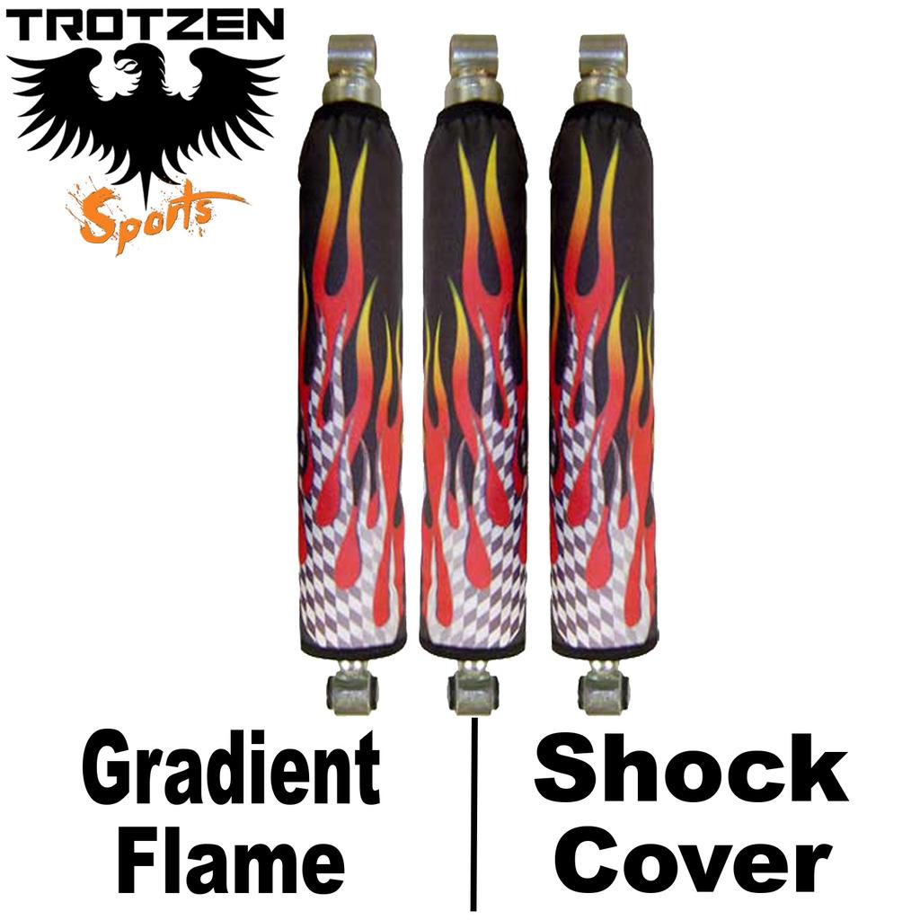 Suzuki LTR 450 450R Black Flame On Yellow Shock Covers - Trotzen Sports