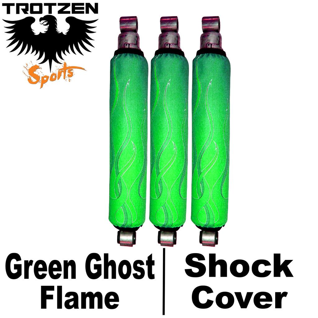 Yamaha Rhino Green Ghost Flame Shock Covers