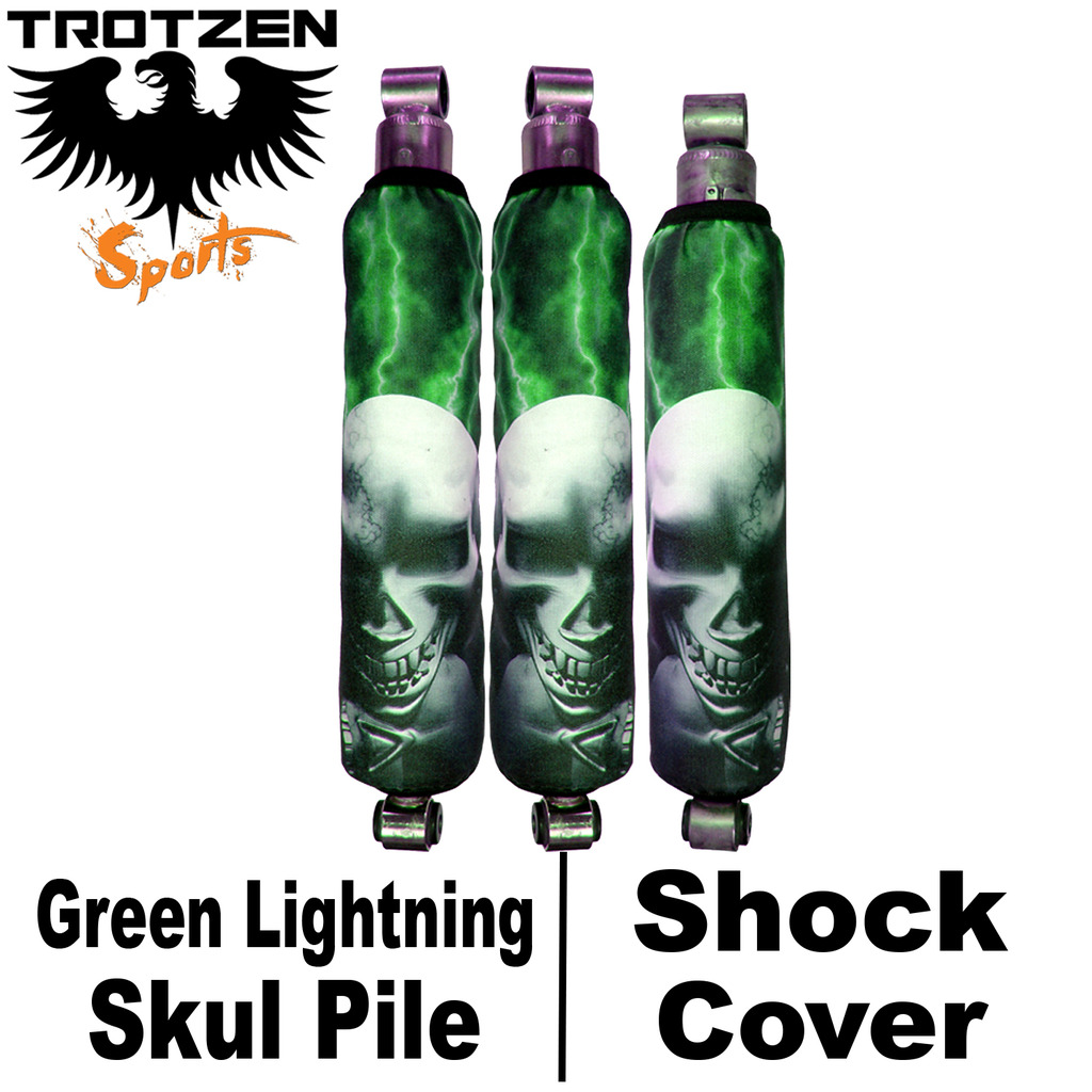 Yamaha Banshee Green Lightning Skull Pile Shock Covers
