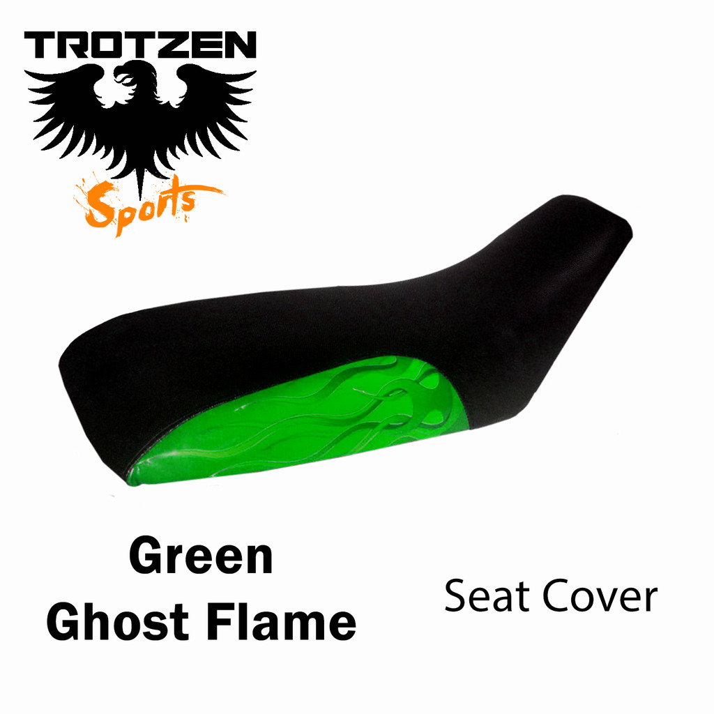 Honda TRX 70 86-87 Green Ghost Flame Seat Cover