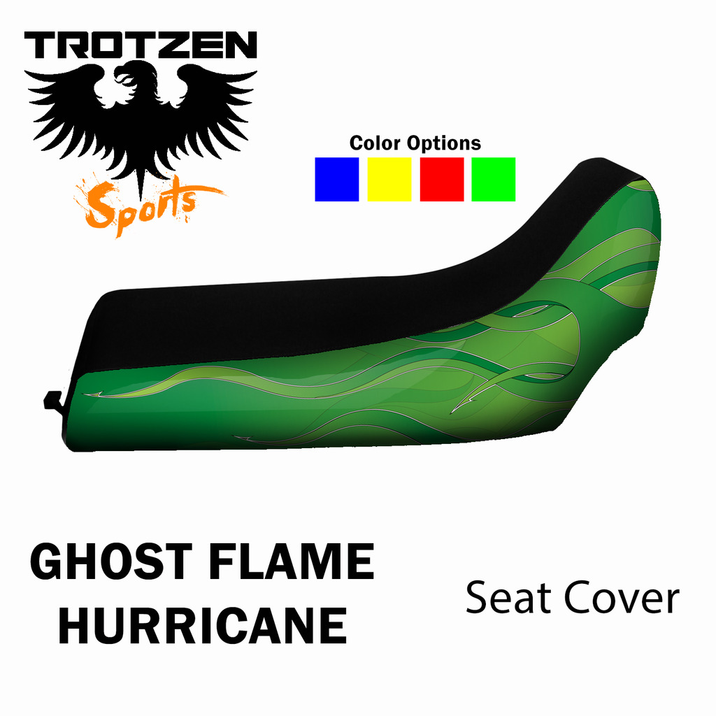 Polaris Outlaw Green Ghost Flame Hurricane Seat Cover