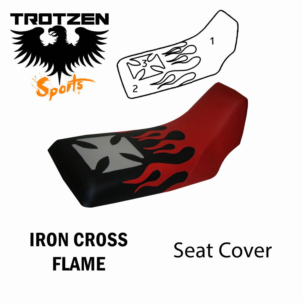 Honda ATC 200S 84-86 Iron Cross Flame Seat Cover
